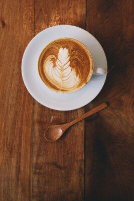Fototapet kaffe latte i coffee shop vintage färg