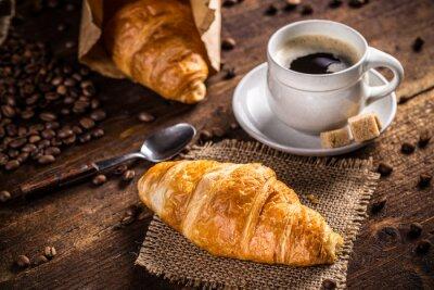 Fototapet Kaffe och croissant