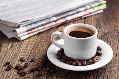 Fototapet Kaffe och tidning