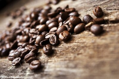 Fototapet Kaffe på trä