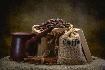 Fototapet kaffe väska på mörk bakgrund