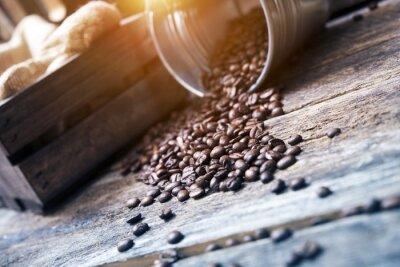 Fototapet Kaffebönor i Bucket