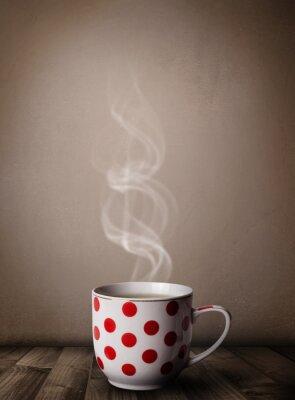 Fototapet Kaffekopp med abstrakt vit ånga