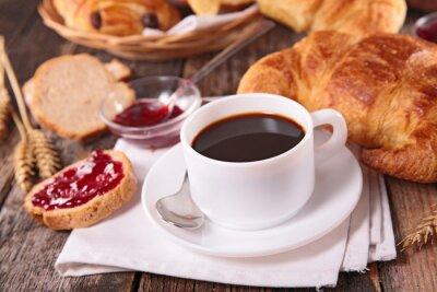 Fototapet kaffekopp och croissant