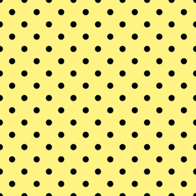 Fototapet Kakel vektor mönster med svarta prickar på gul bakgrund