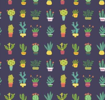 Fototapet kaktus sömlöst mönster