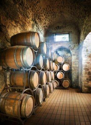 Fototapet Källare med fat lagring av vin