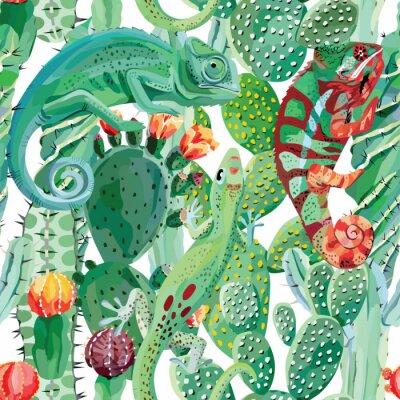 Fototapet kameleont och kaktus sömlös bakgrund