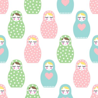 Fototapet Kapslade docka seamless. Söta trä Rysk docka - Matrioshka. Pastellfärger kapslade docka Matrioshka illustration på vit bakgrund.