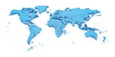 Fototapet karta detalj värld med nationsgränser, 3d