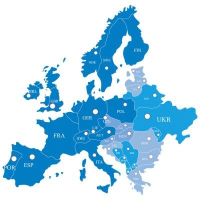 Fototapet karta europeiska med regioner på en vit bakgrund