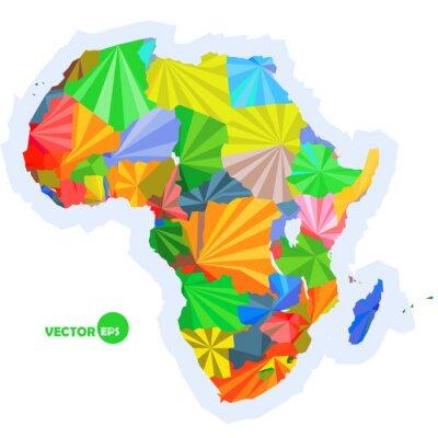Fototapet karta över Afrika. karta koncept med länder Colorful Afrika karta, abstrakt bakgrund utformning infographic, Afrika kartan i polygonal origami vektor logo design