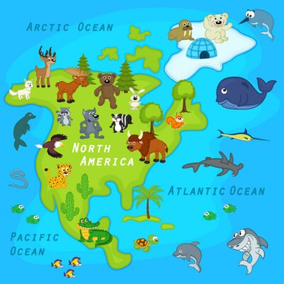 Fototapet karta över Nordamerika med djur - vektor illustration, eps