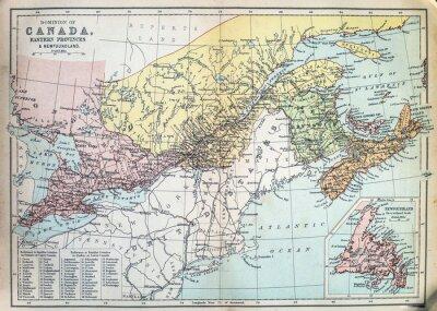 Fototapet Karta över östra provinserna i Kanada