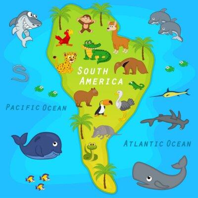 Fototapet karta över Sydamerika med djur - vektor illustration, eps
