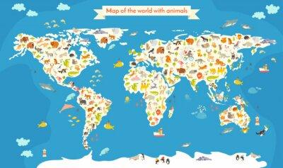 Fototapet Karta över världen med djur. Vackra färgglada vektor illustration. Förskola för barn, barn, barn och alla människor