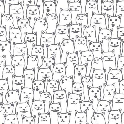 Fototapet Katt kattunge ras doodle vektor sömlösa mönster isolerade tapet bakgrund vit