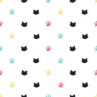 Fototapet katt paw spår vektor sömlösa mönster