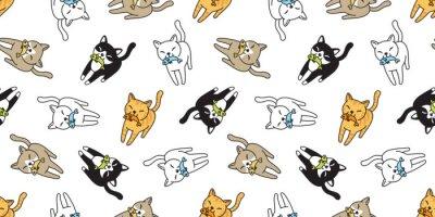 Fototapet katt sömlös mönster vektor kattunge calico fisk lax tecknad halsduk isolerad kakel bakgrund upprepa tapet doodle illustration