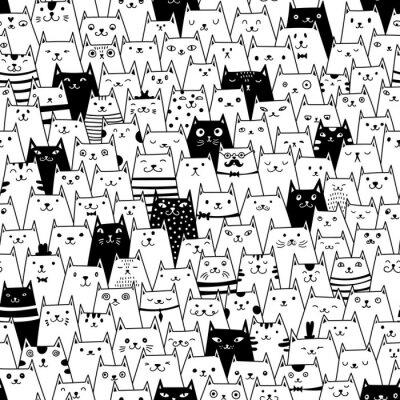 Fototapet Katter sömlösa vektor mönster