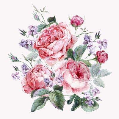 Fototapet Klassisk tappning blom- hälsningskort, vattenfärg bukett