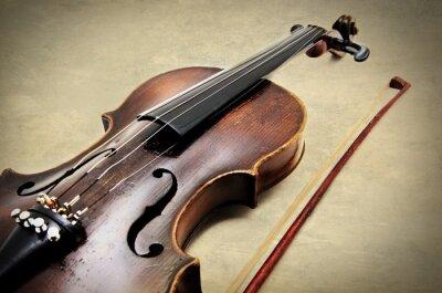 Fototapet Klassisk violin på grunge papper textur.