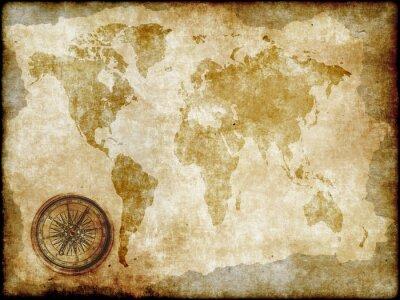 Fototapet kompass med vintagekarta