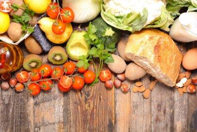 Fototapet komposition med kost och hälsosam mat
