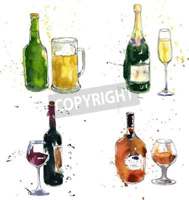 Fototapet konjak flaska och kopp, vin flaska och glas, champagne flaska och glas, ölflaska och kopp, teckning av akvarell och bläck, handritad vektor illustration