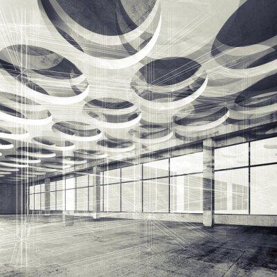 Fototapet Konkreta interiör och tråd ram linjer, 3d illustration