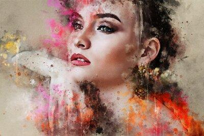 Fototapet Konst färgrik skissad vacker abstrakt flickan ansikte porträtt på färgad bakgrund i Digital vattenfärg blandad media stil stil mode stil