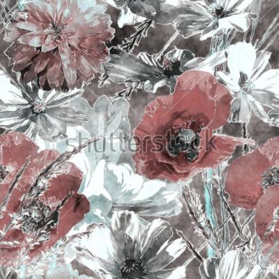 Fototapet konst tappning vattenfärg färgglada blommor sömlösa mönster med röda och vita vallmor, peonies, rosor, löv och gräs på mörkgrå bakgrund