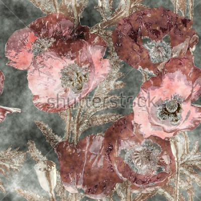 Fototapet konst vintage akvarell färgglada blommor sömlösa mönster med mörka röda vallmor, löv och gräs på bakgrunden