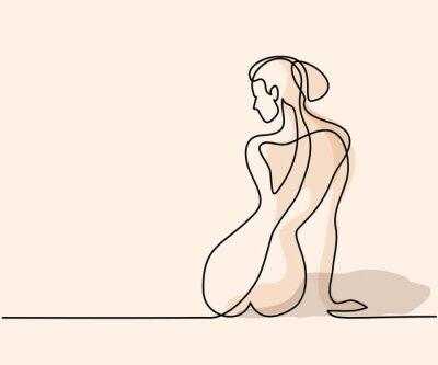 Fototapet Kontinuerlig linje ritning. Kvinna sitter tillbaka. Mjuk färg vektor illustration
