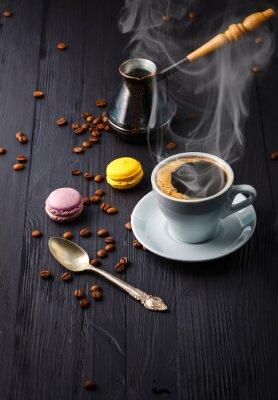 Fototapet Kopp kaffe med säd och Cezve