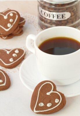 Fototapet Kopp kaffe och choklad kakor