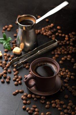 Fototapet Kopp kaffe och kaffebönor