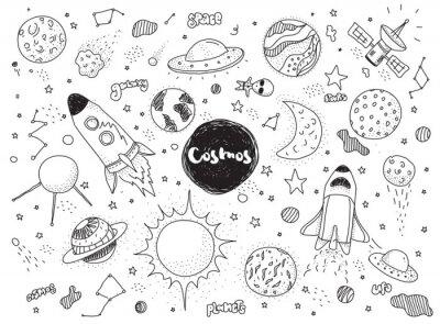 Fototapet Kosmiska objekt inställd. Handritad vektor klotter. Raketer, planeter, konstellationer, ufo, stjärnor, etc. rymdtema.