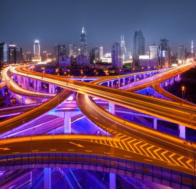 Fototapet Kreuzung i Shanghai
