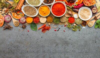 Fototapet Kryddor och herbs.Food och mat ingredienser.