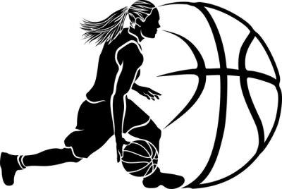 Fototapet Kvinna basket Dribble Sihouette med boll