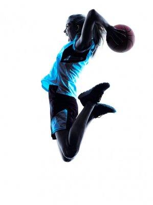 Fototapet kvinna basketspelare silhuett