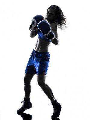 Fototapet kvinna boxare boxning kickboxning silhuett isolerade
