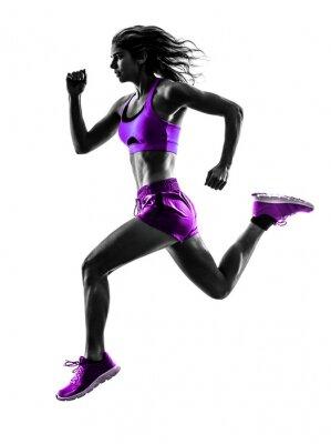 Fototapet kvinna löpare rinnande jogger jogging silhuett