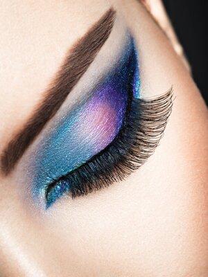 Fototapet Kvinna öga med blå ögon smink