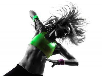 Fototapet kvinna utövar fitness zumba dans silhuett