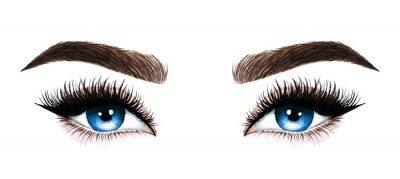 Fototapet Kvinnaögon med långa ögonfransar. Handritad akvarellillustration. Ögonfransar och ögonbrynen. Design för ögonfransförlängningar, mikroblading, mascara, skönhetssalong, kosmetika, makeupartist. Blåa ög