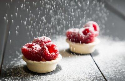 Fototapet läcker dessert tårtor med färska hallon