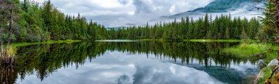 Fototapet Lake nära Mendhenall Glacier enorm landskapet