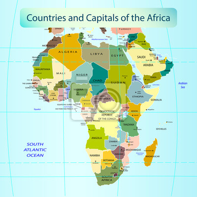 Lander Och Huvudstader I Afrika Fototapet Fototapeter Geografisk